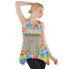 Color Background Structure Lines Side Drop Tank Tunic