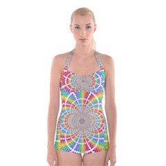 Color Background Structure Lines Boyleg Halter Swimsuit