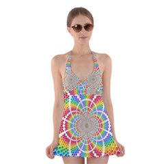 Color Background Structure Lines Halter Swimsuit Dress