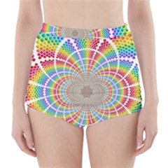 Color Background Structure Lines High-Waisted Bikini Bottoms