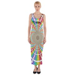 Color Background Structure Lines Fitted Maxi Dress