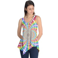 Color Background Structure Lines Sleeveless Tunic