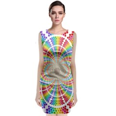 Color Background Structure Lines Classic Sleeveless Midi Dress