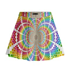 Color Background Structure Lines Mini Flare Skirt