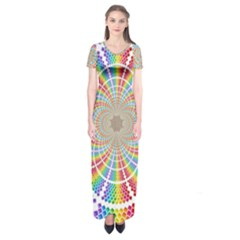 Color Background Structure Lines Short Sleeve Maxi Dress