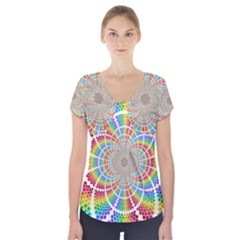 Color Background Structure Lines Short Sleeve Front Detail Top