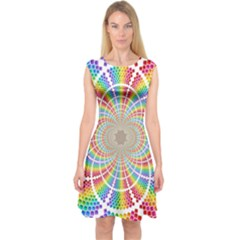 Color Background Structure Lines Capsleeve Midi Dress