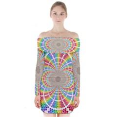 Color Background Structure Lines Long Sleeve Off Shoulder Dress
