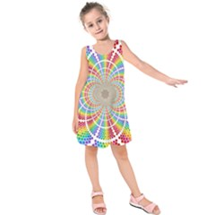 Color Background Structure Lines Kids  Sleeveless Dress