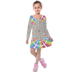 Color Background Structure Lines Kids  Long Sleeve Velvet Dress