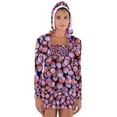 Hazelnuts Nuts Market Brown Nut Women s Long Sleeve Hooded T-shirt