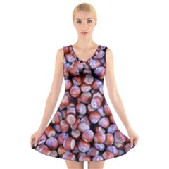 Hazelnuts Nuts Market Brown Nut V-Neck Sleeveless Skater Dress