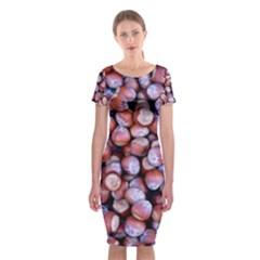 Hazelnuts Nuts Market Brown Nut Classic Short Sleeve Midi Dress