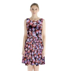 Hazelnuts Nuts Market Brown Nut Sleeveless Chiffon Waist Tie Dress