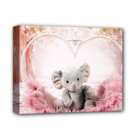 Elephant Heart Plush Vertical Toy Deluxe Canvas 14  X 11