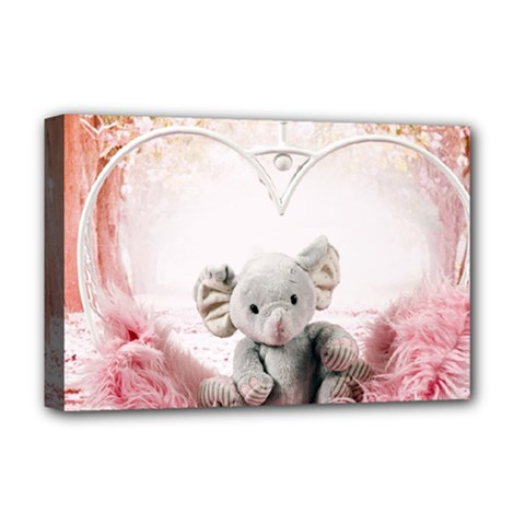 Elephant Heart Plush Vertical Toy Deluxe Canvas 18  X 12