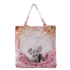 Elephant Heart Plush Vertical Toy Grocery Tote Bag