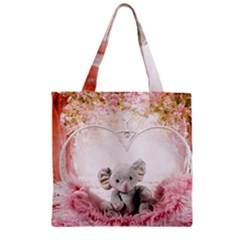 Elephant Heart Plush Vertical Toy Zipper Grocery Tote Bag