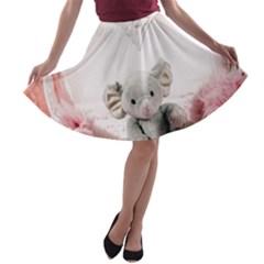 Elephant Heart Plush Vertical Toy A Line Skater Skirt