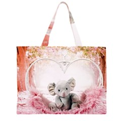 Elephant Heart Plush Vertical Toy Large Tote Bag