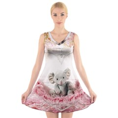 Elephant Heart Plush Vertical Toy V-Neck Sleeveless Skater Dress