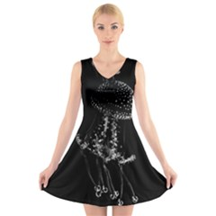 Jellyfish Underwater Sea Nature V-Neck Sleeveless Skater Dress