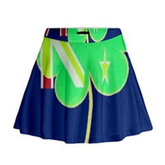 Irish Shamrock New Zealand Ireland Funny St. Patrick Flag Mini Flare Skirt
