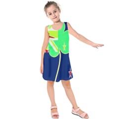 Irish Shamrock New Zealand Ireland Funny St. Patrick Flag Kids  Sleeveless Dress