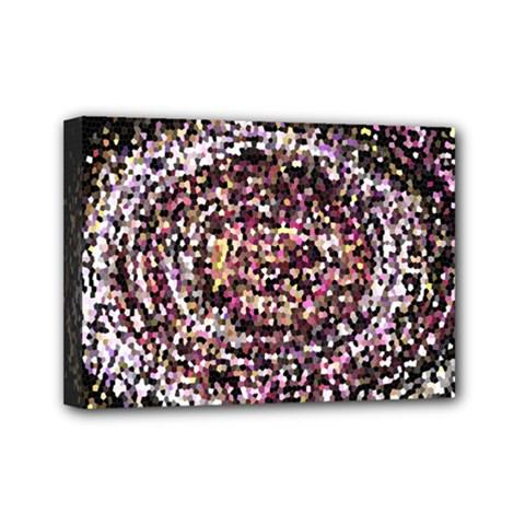 Mosaic Colorful Abstract Circular Mini Canvas 7  X 5