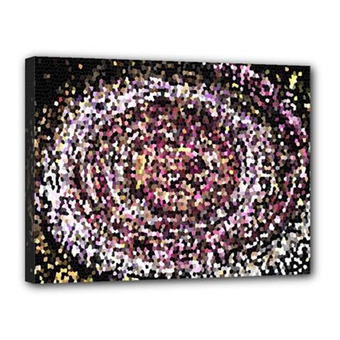 Mosaic Colorful Abstract Circular Canvas 16  X 12