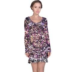Mosaic Colorful Abstract Circular Long Sleeve Nightdress