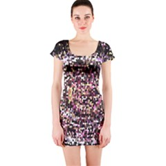 Mosaic Colorful Abstract Circular Short Sleeve Bodycon Dress
