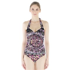Mosaic Colorful Abstract Circular Halter Swimsuit