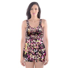 Mosaic Colorful Abstract Circular Skater Dress Swimsuit
