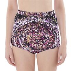 Mosaic Colorful Abstract Circular High Waisted Bikini Bottoms