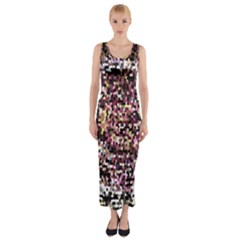 Mosaic Colorful Abstract Circular Fitted Maxi Dress