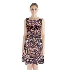 Mosaic Colorful Abstract Circular Sleeveless Chiffon Waist Tie Dress