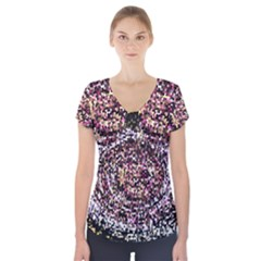 Mosaic Colorful Abstract Circular Short Sleeve Front Detail Top