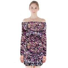 Mosaic Colorful Abstract Circular Long Sleeve Off Shoulder Dress