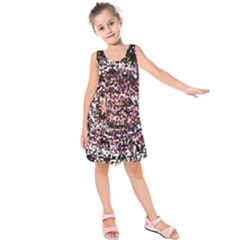 Mosaic Colorful Abstract Circular Kids  Sleeveless Dress