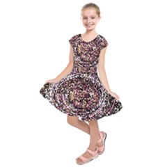 Mosaic Colorful Abstract Circular Kids  Short Sleeve Dress
