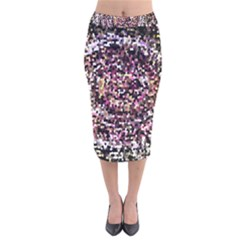 Mosaic Colorful Abstract Circular Velvet Midi Pencil Skirt