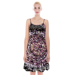 Mosaic Colorful Abstract Circular Spaghetti Strap Velvet Dress