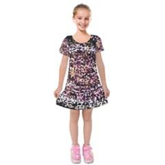 Mosaic Colorful Abstract Circular Kids  Short Sleeve Velvet Dress