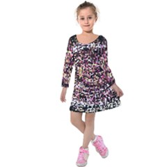 Mosaic Colorful Abstract Circular Kids  Long Sleeve Velvet Dress