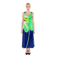 Irish Shamrock New Zealand Ireland Funny St Patrick Flag Sleeveless Maxi Dress