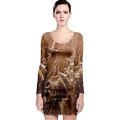 Ice Iced Structure Frozen Frost Long Sleeve Bodycon Dress