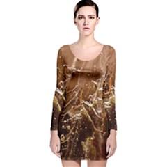 Ice Iced Structure Frozen Frost Long Sleeve Velvet Bodycon Dress