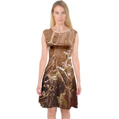 Ice Iced Structure Frozen Frost Capsleeve Midi Dress