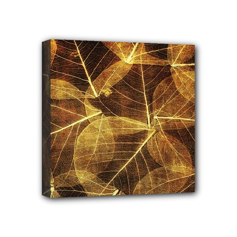 Leaves Autumn Texture Brown Mini Canvas 4  X 4